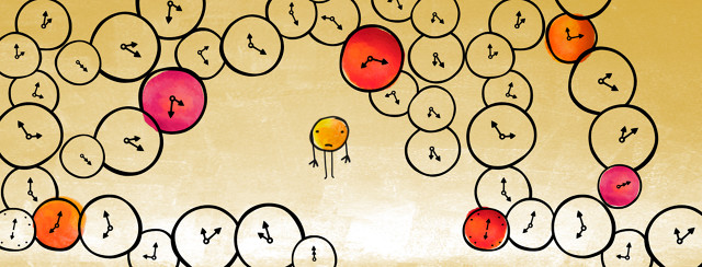 A yellow watercolor circle stands in the middle of the frame with a sad face. It is surrounded by clocks colored in various shades of yellow, orange, and red.