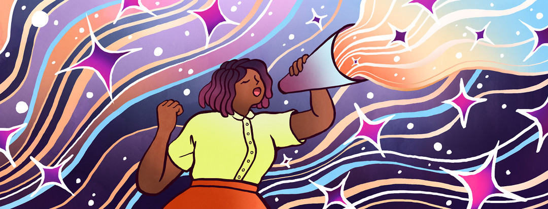 Among a background of shining waves, a woman's voice is magnified through a megaphone.