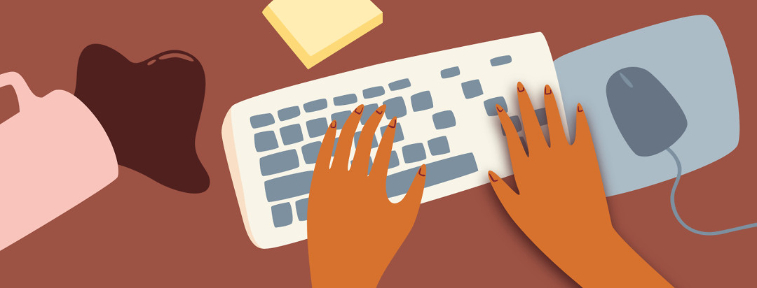 Hands typing on keyboard. The right hand appears numb or stuck in place and the keys are disappearing off of the keyboard. A spilled cup of coffee is in the background.