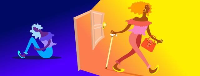 On the left side of the image, a woman is sitting alone on the floor in the dark. In the middle a door is open and she is walking out into the light with a cane, purse, and smile on her face.