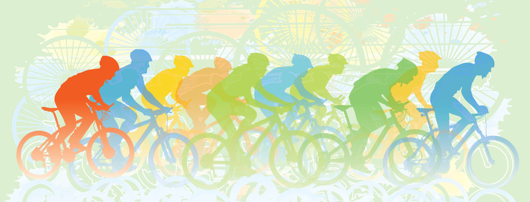 A colorful silhouette of a group of women bike riding. The person in the back stands out from the crowd and is highlighted orange.