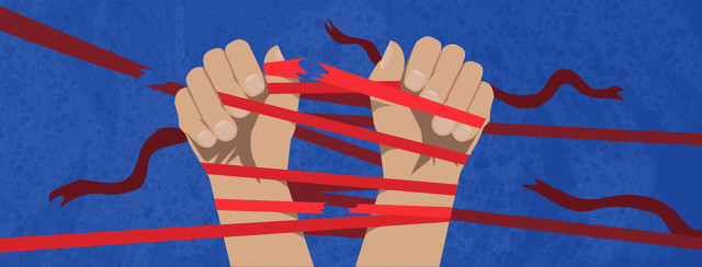 Two hands are tied together with red tape as the person struggles to break free. Some of the ribbons start to break.