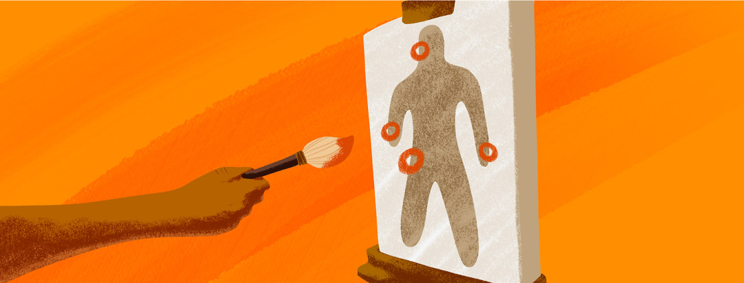 An arm enters the frame from the left with a paintbrush in their hand. It is drawing circles around multiple spots on the body.