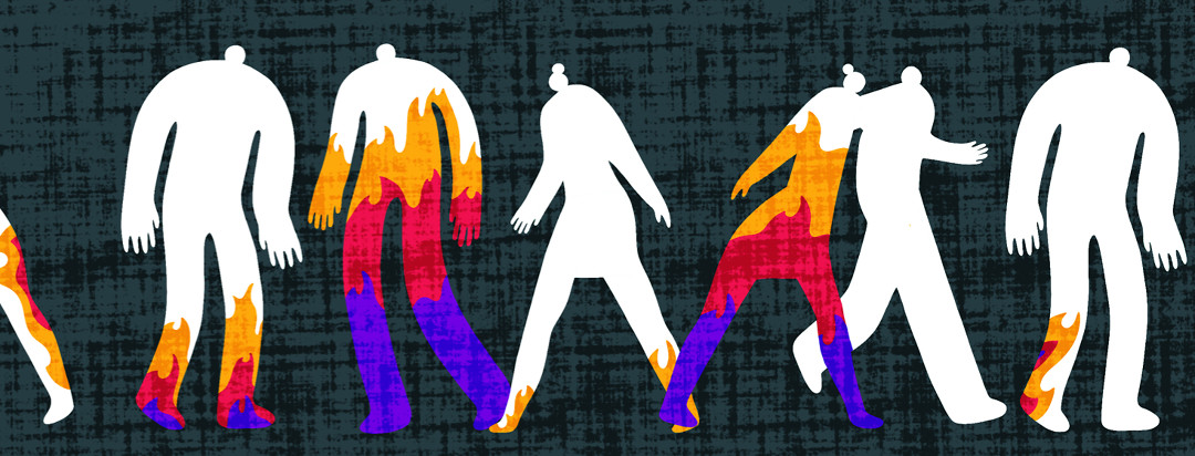 Silhouettes of men and women walking with varying levels of fire and flames rising within their legs.