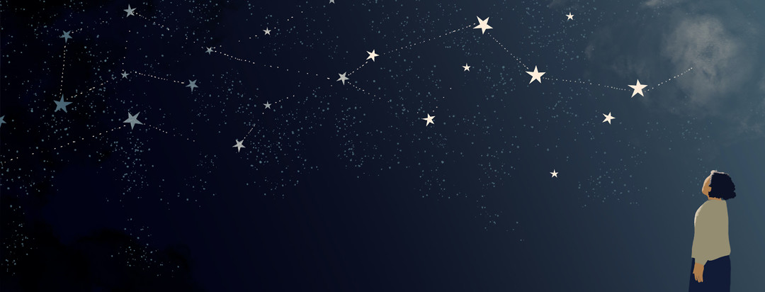 A woman gazes up a dark night sky filled with stars. Some are connected by dotted lines to show parts of a story coming together like a constellation, but there is also cloudiness and unknown.