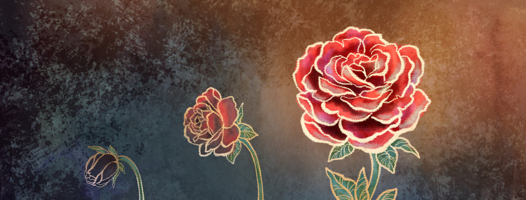 A rose is depicted in three stages from a grayed-out bud to a colorful full bloom.