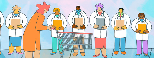 A woman pushes a shopping cart while she eyes up a line of doctors clutching clipboards.