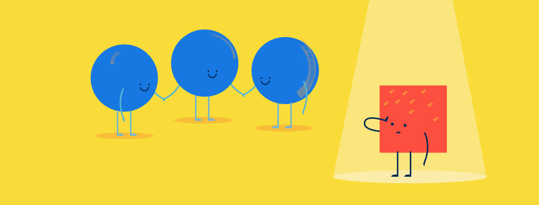 Three blue circles holding hands, one red square sad alone in the spotlight, feeling left out