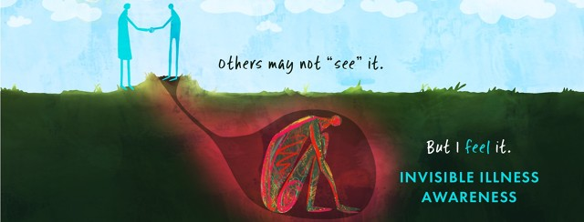 """A person greets another cheerfully above ground, while below the surface there is a tunnel leading to a cavern where a hunched figure in pain hides. Text reads """"Others may not """"see"""" it. But I feel it. Invisible Illness Awareness."""""""