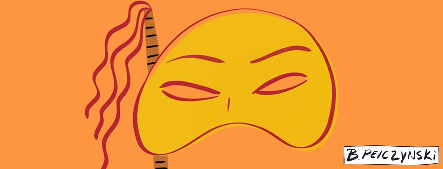 orange theatrical mask