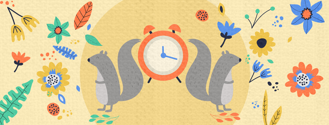 An alarm clock sits in the middle of the image with two squirrels that have their back to it. The squirrels are surrounded by forrest flowers.
