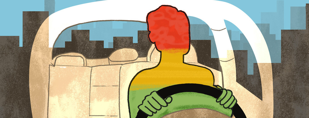 The outline of a figure driving a car. The inside of their body is filled like a traffic sign with green, yellow, and red.