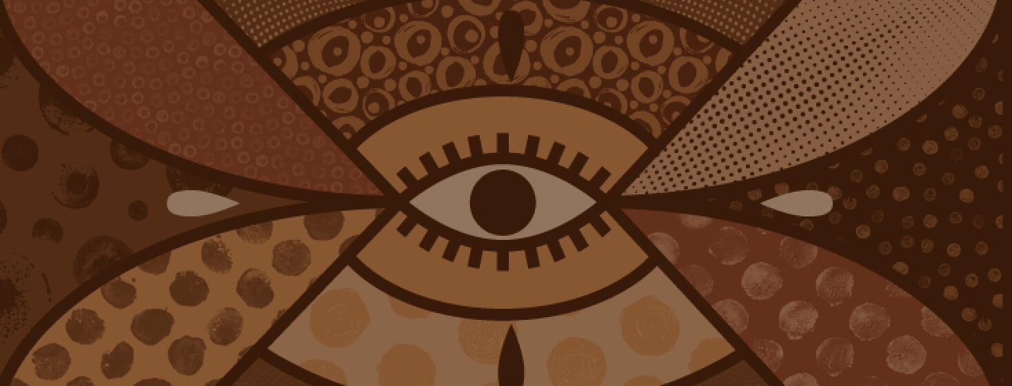 An eye in the center of abstract patterns in different skin tones.