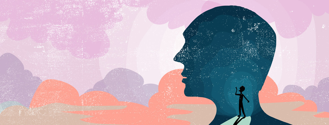 A silhouette of a man's head in profile view shows a tiny version of himself inside acting as his inner voice.