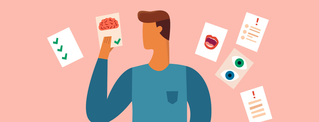A man holds a piece of paper in front of himself with the picture of a brain. Behind him other medical papers are swirling requesting attention but being ignored.