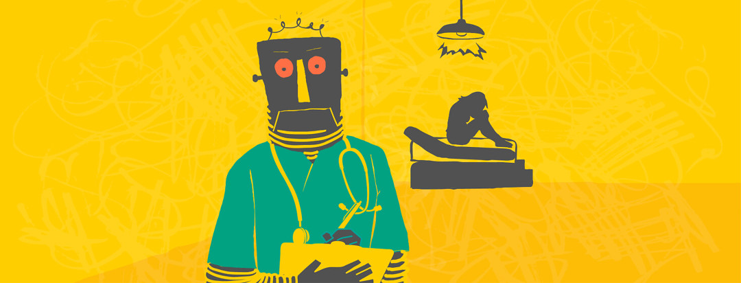 A robot doctor turns his back on a patient and takes notes.