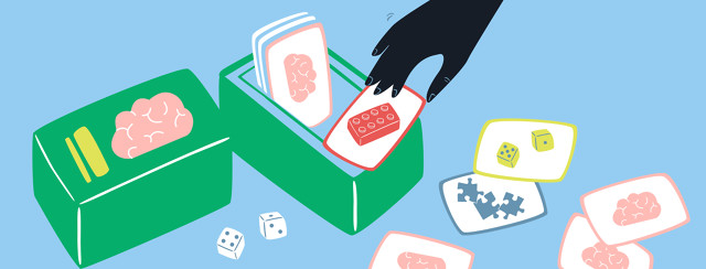 Hand reaching into box with brain playing cards. Each card has a different activity to choose on the other side. There are legos, puzzles and dice shown.