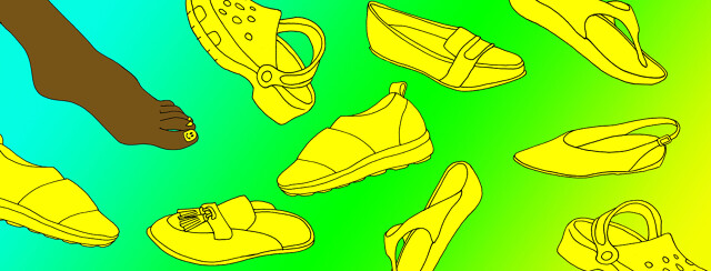 A foot is among various different types of flat shoes.