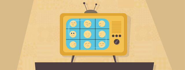 An old tube television sits on a wooden stand. On the screen is a series of emojis looking around at eachother like on the Brandy Bunch. The one in the middle looks upset and lost.