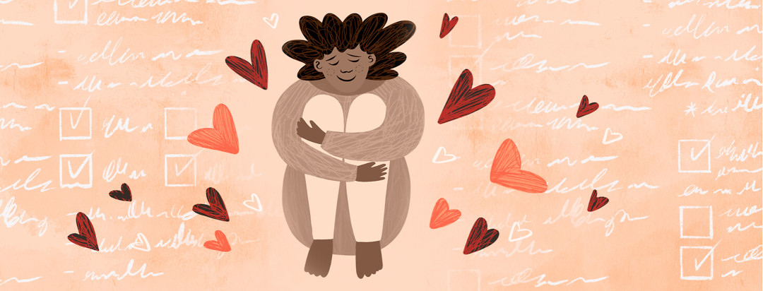 A woman sits in the middle of a to do check list hugging her legs with a smile on her face. There are some hearts floating around her to show self love.