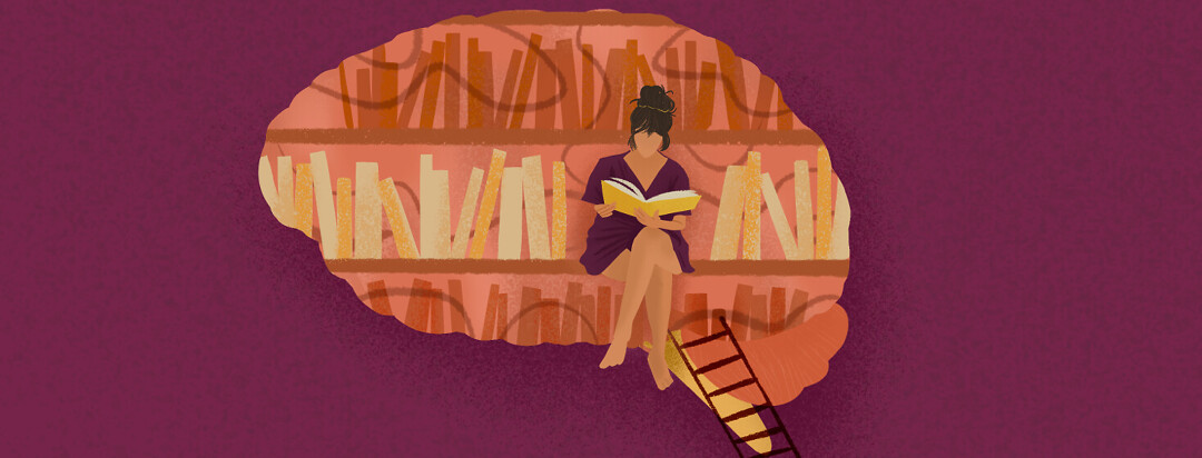 A woman is sitting inside a brain with bookcases trying to recount her memory loss.