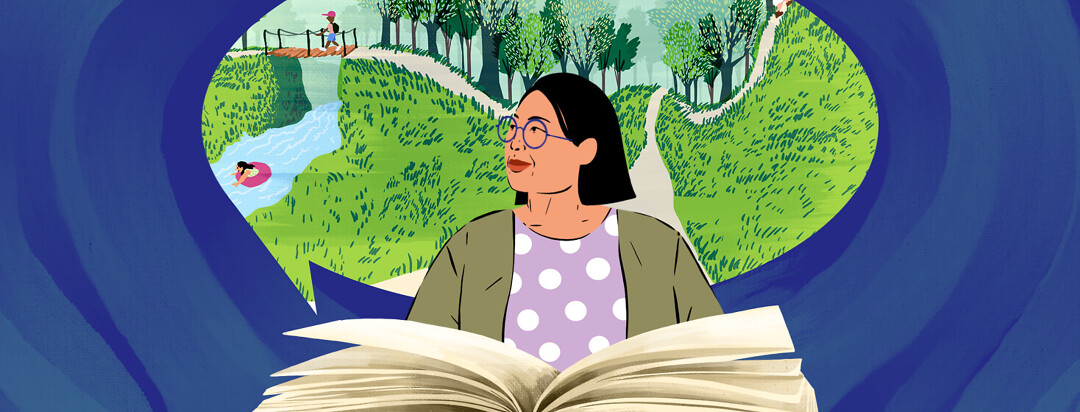 A woman with MS is taking a break and reading a book. In the bubble behind her she is imagining the story that takes place in a forest.
