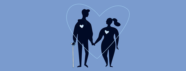 Dating someone with MS. Two young silhouettes are holding hands inside a large heart. One person has a cane.