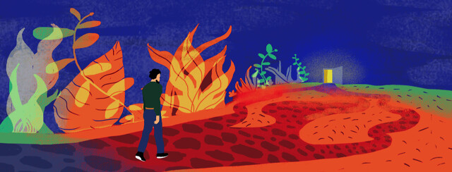 A person is walking on a road that splits into 3 different rocky paths. The foliage in the background turns into flames.