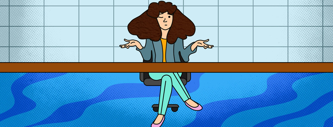 A woman newscaster with fuzzy brown hair has her hands up to relate one symptom to another. She has one eye closed
