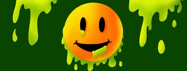 A positive smiling emoji oozing toxic waste.