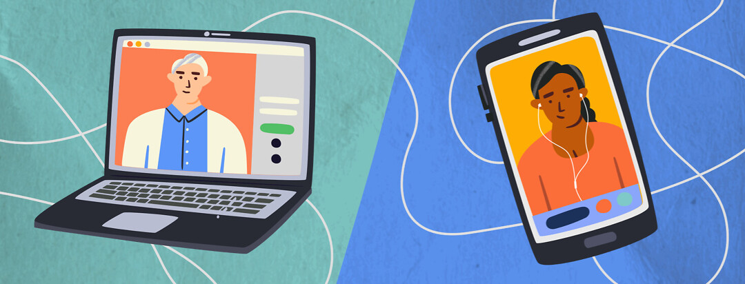 A laptop with a picture of a doctor online is connected by a winding cord to a cell phone with a patient wearing earbuds.