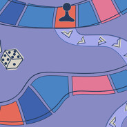 A game piece sits in the middle of a board having landed on an orange square and getting setback many spaces.