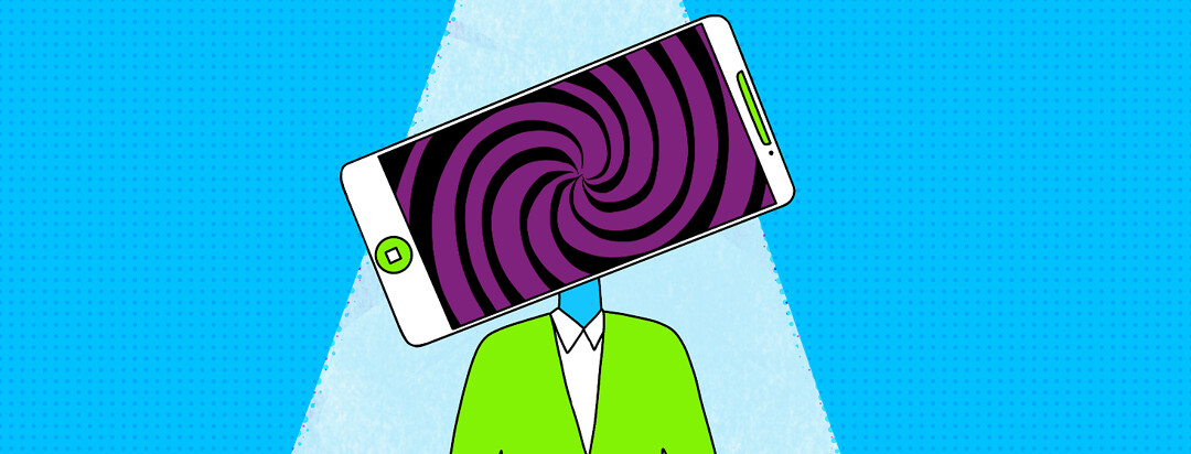 A person stands under a spotlight in a digital world. There is a mobile cell phone in place of their head with a swirling hypnotizing pattern on it.