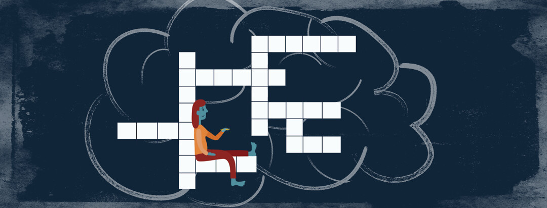 a woman is sitting inside a crossword puzzle with a pencil in her hand. There is an outline of a brain around the puzzle.
