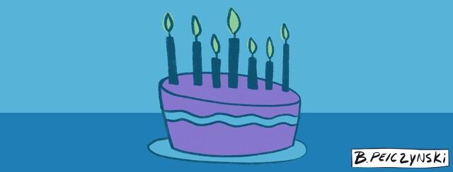 Blue and purple birthday cake
