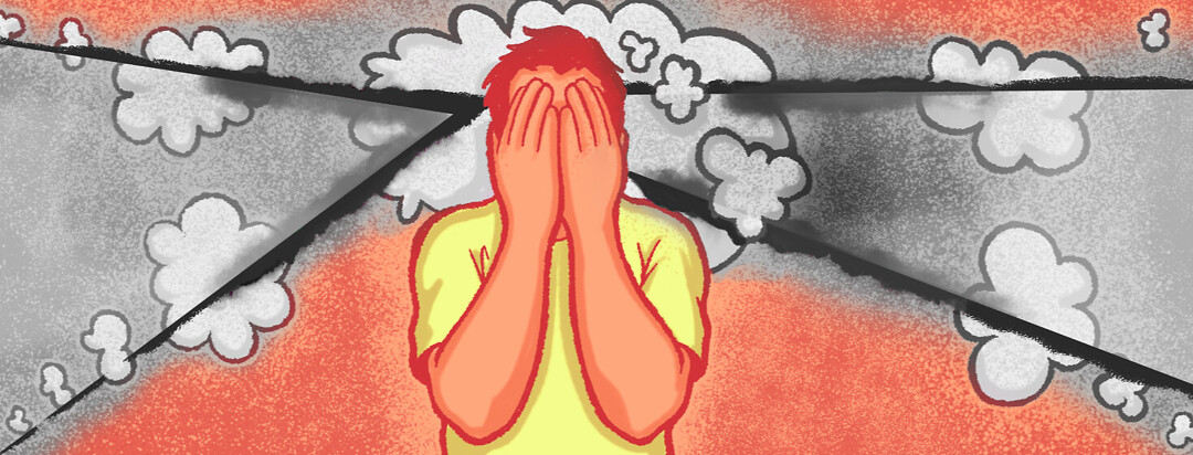 A person holds their hands over their eyes. There are clouds and grey lines to show depression can feel like with MS.