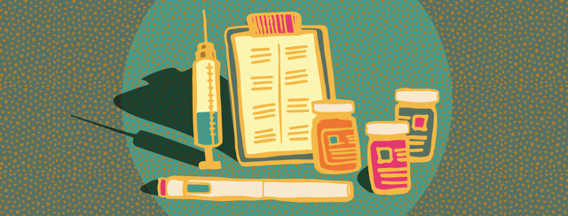 A clipboard stands up beside a needle, some prescription bottles, and an self injection pen.