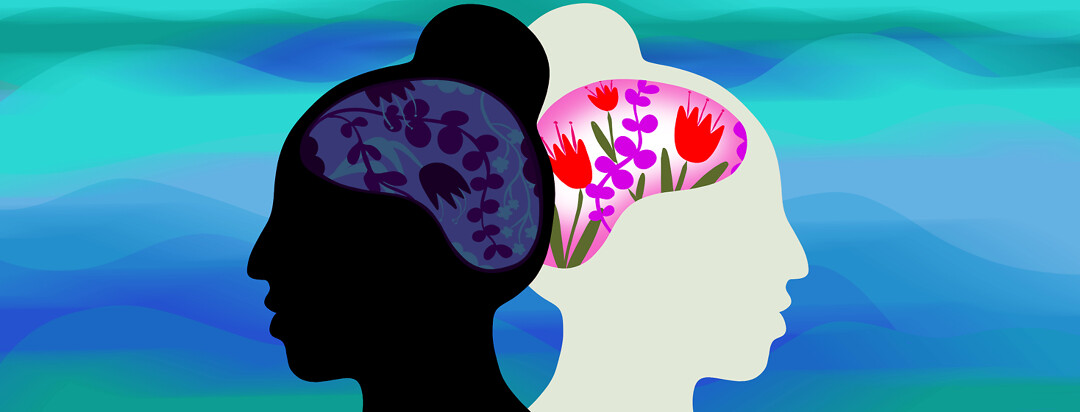 A woman's head is reflected and faced back to back - one of the brains has vibrant colorful flowers, while the other includes dark and wilted flowers.