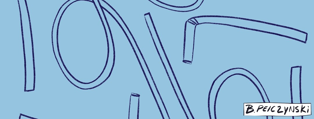 looping straws on a blue background