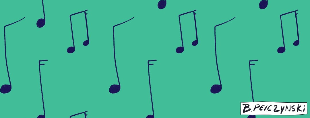 Various drawn music notes on a green background.