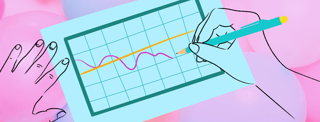 A pair of hands is drawing a line graph. There are pastel balloons in the background.