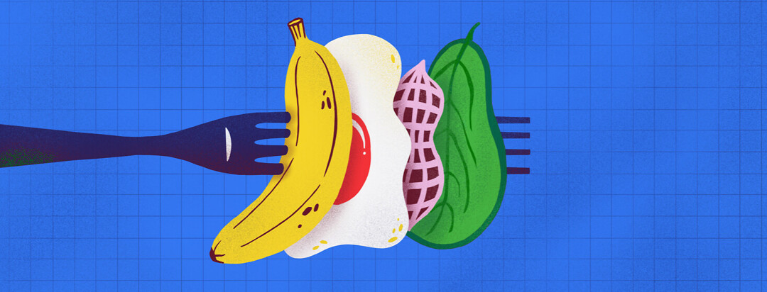 A fork is spearing whole food items. There is a banana, fried egg, peanut, and spinach leaf.