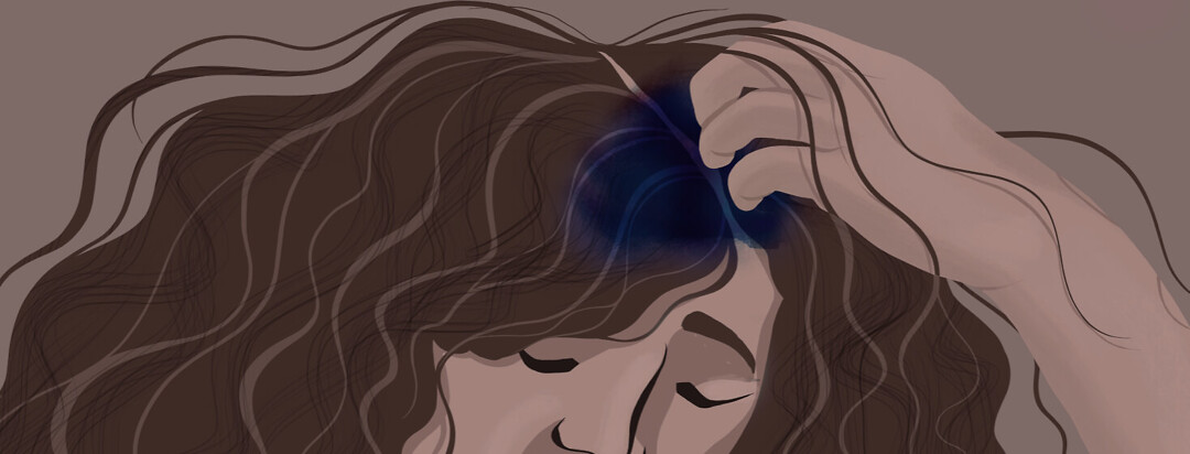 I woman pulls at her hair while a large black and blue mark covers her scalp.