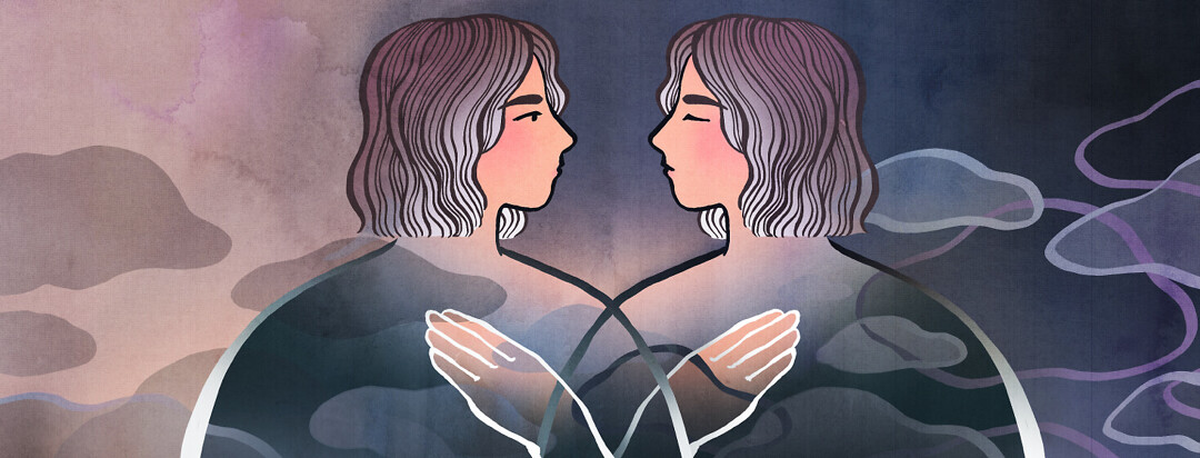A woman is pictured beside herself. One version has bright light on the outside and showing the world a blank expression. The image on the other side has her eyes closed, mouth neutral, and is reflecting on the darkness around her thoughts.